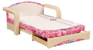 Детский диван Эдем пони розовый фото 2 | интернет-магазин Складно