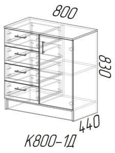 Комод К800-1Д с 4 ящиками и 1 дверцей 3330 рублей, фото 3 | интернет-магазин Складно