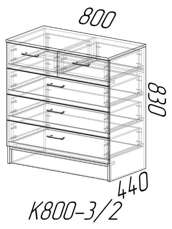 Комод К800 3-2 с 5 ящиками фото 4 | интернет-магазин Складно