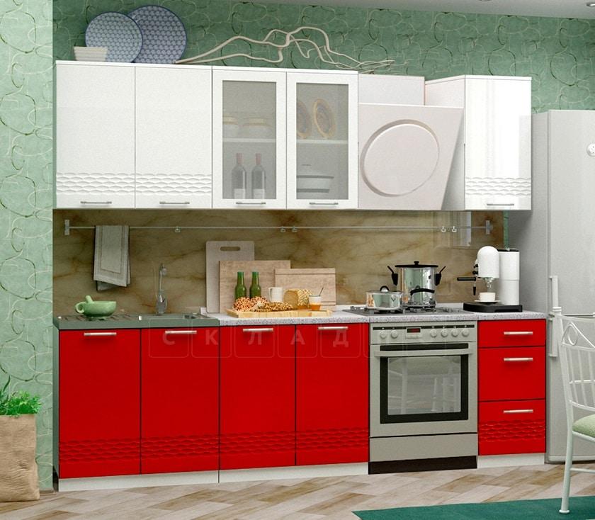 Кухонный гарнитур Шарлотта Асти красный с белым 2,0 м фото 1   интернет-магазин Складно