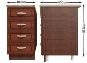 Кухонный шкаф напольный Кариба ШНЯ40 с 4 ящиками фото   интернет-магазин Складно