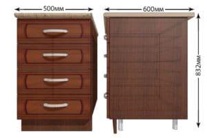 Кухонный шкаф напольный Кариба ШНЯ50 с 4 ящиками фото   интернет-магазин Складно