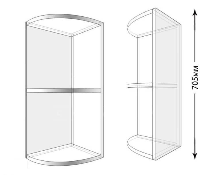 Кухонный навесной шкаф торцевой открытый Лофт ШВПУ30 фото 1 | интернет-магазин Складно
