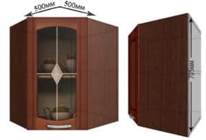 Кухонный навесной шкаф угловой со стеклом Кариба ШВУС50 фото | интернет-магазин Складно