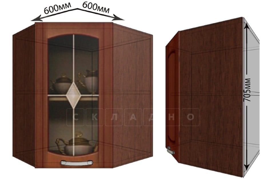 Кухонный навесной шкаф угловой со стеклом Кариба ШВУС60 фото 1 | интернет-магазин Складно