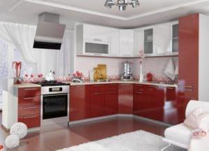 Кухня угловая Шарлотта 2,4х2,5м гранат с белым  48400  рублей, фото 1 | интернет-магазин Складно