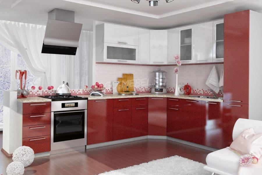 Кухня угловая Шарлотта 2,4х2,5м гранат с белым фото | интернет-магазин Складно