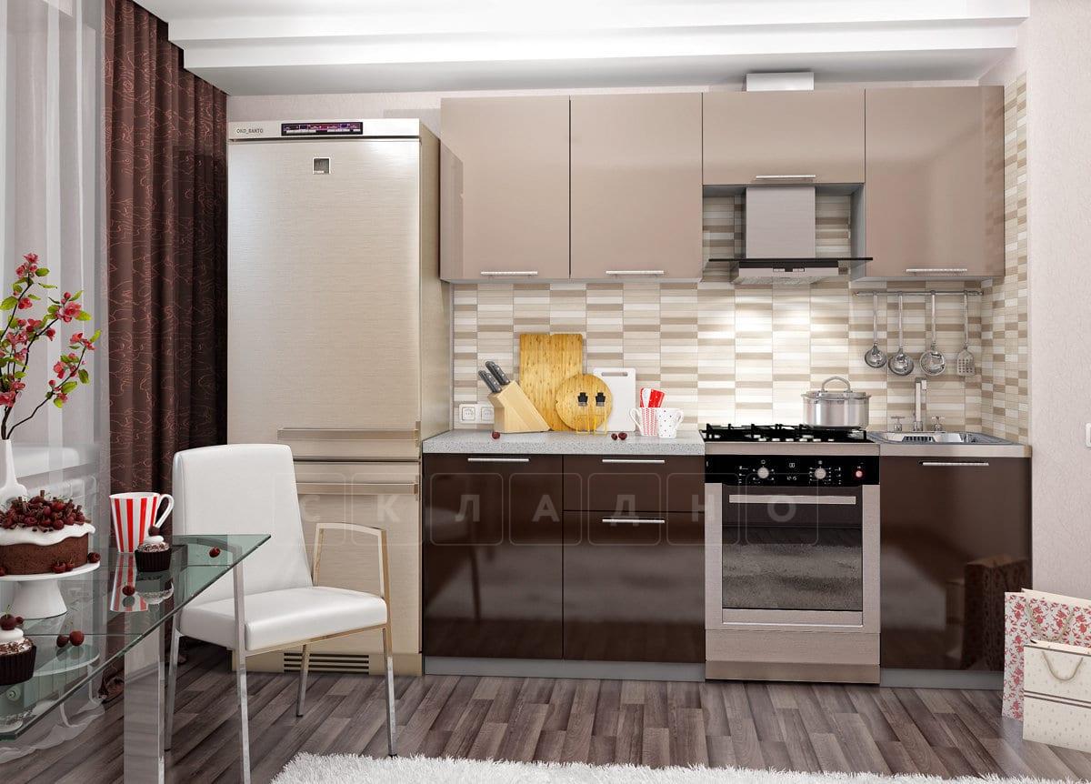 Кухонный гарнитур Шарлотта горький шоколад с капучино 2,1м фото 1 | интернет-магазин Складно