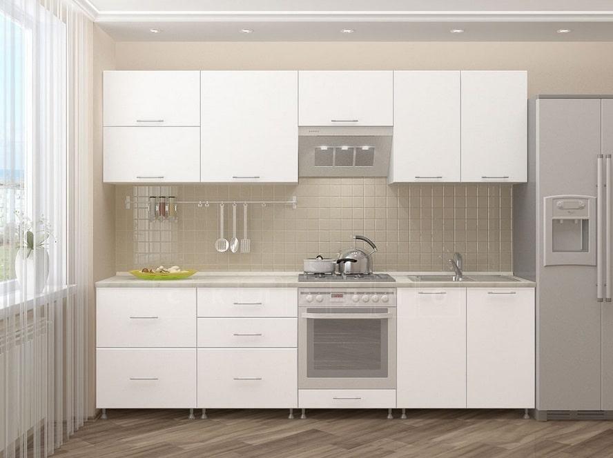 Кухонный гарнитур Шарлотта 2,6 м белый фото 1 | интернет-магазин Складно