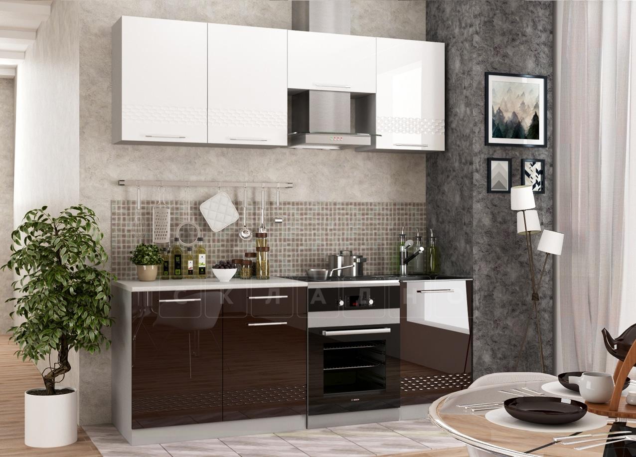 Кухонный гарнитур Шарлотта Асти шоколад 2,1 м фото 1 | интернет-магазин Складно