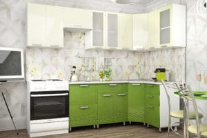 Кухня угловая Шарлотта Асти 1,2х2,5м эвкалипт с ванилью фото | интернет-магазин Складно