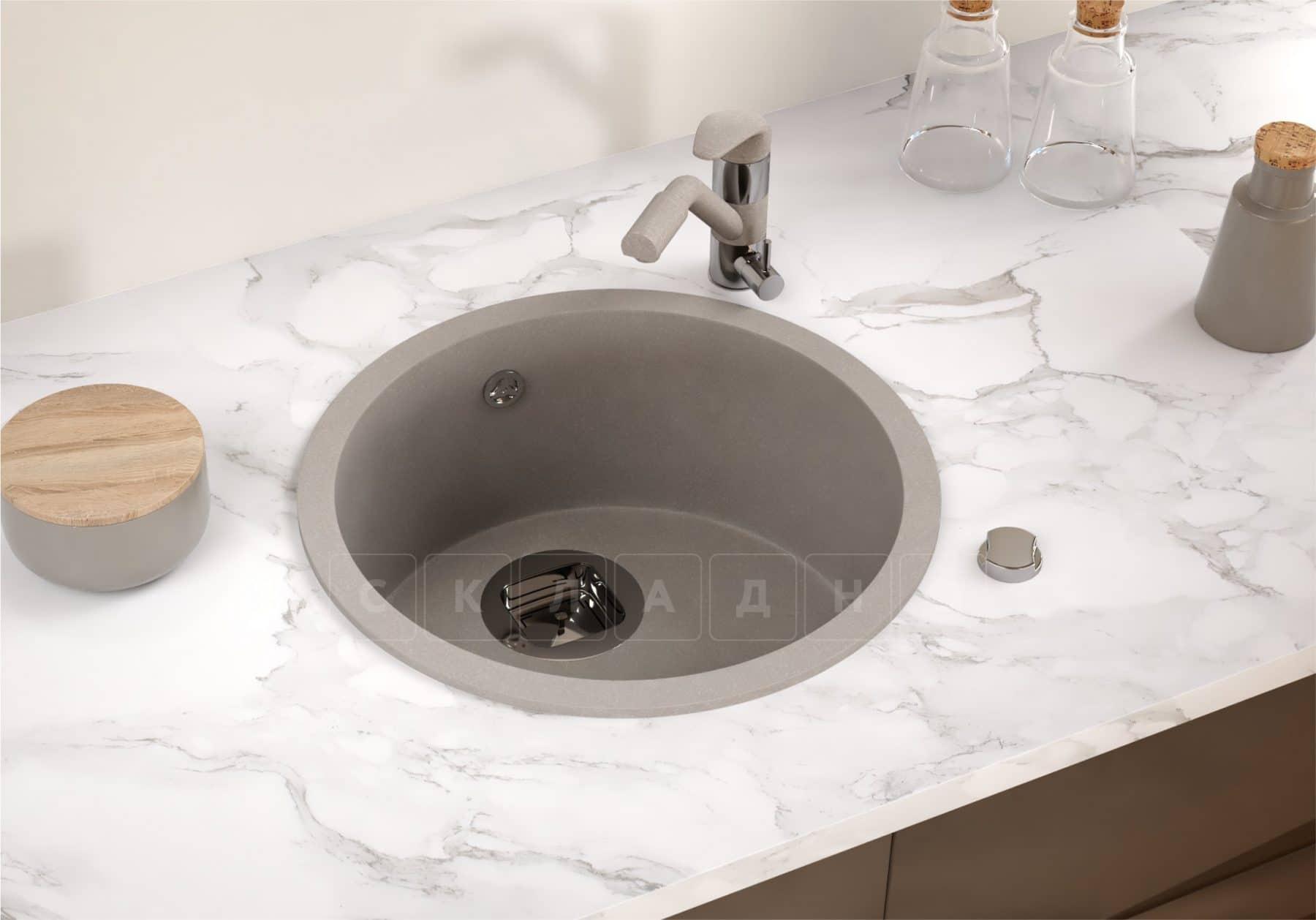 Кухонная мойка TOLERO R-104 кварцевая круглая фото 10 | интернет-магазин Складно