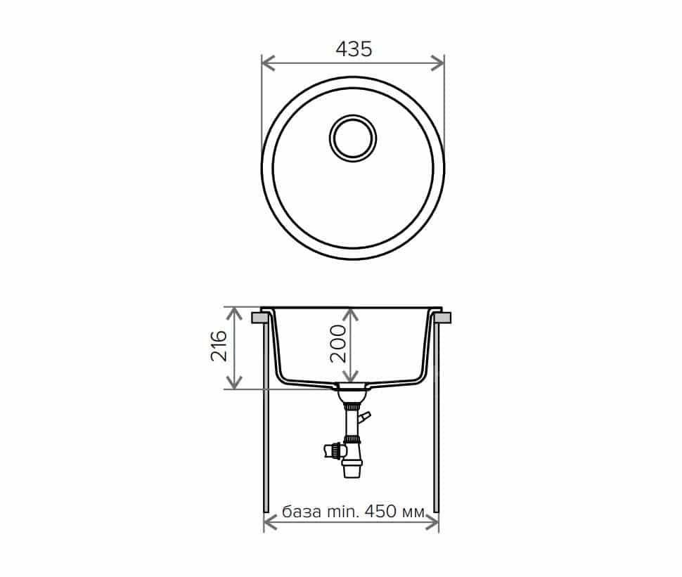 Кухонная мойка TOLERO R-104 кварцевая круглая фото 9 | интернет-магазин Складно