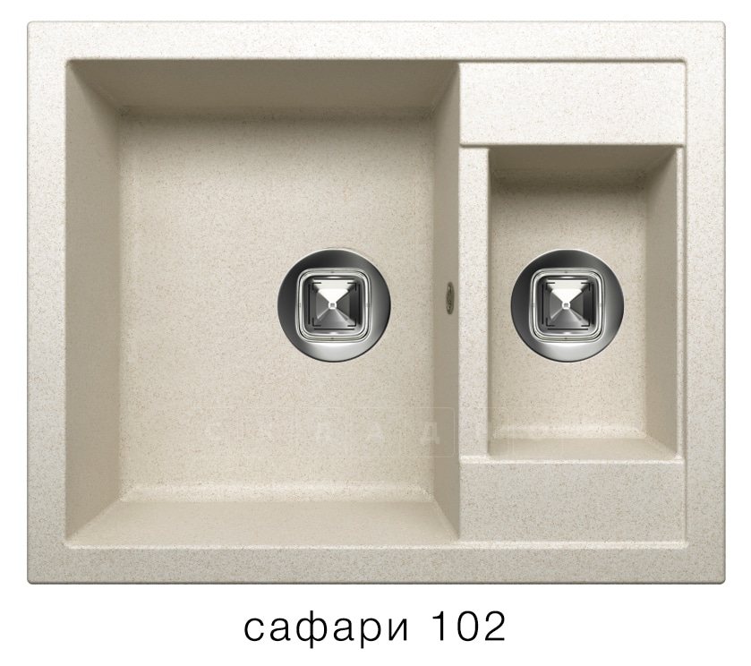 Кухонная мойка TOLERO R-109 кварцевая 62х50 см две чаши фото 3   интернет-магазин Складно