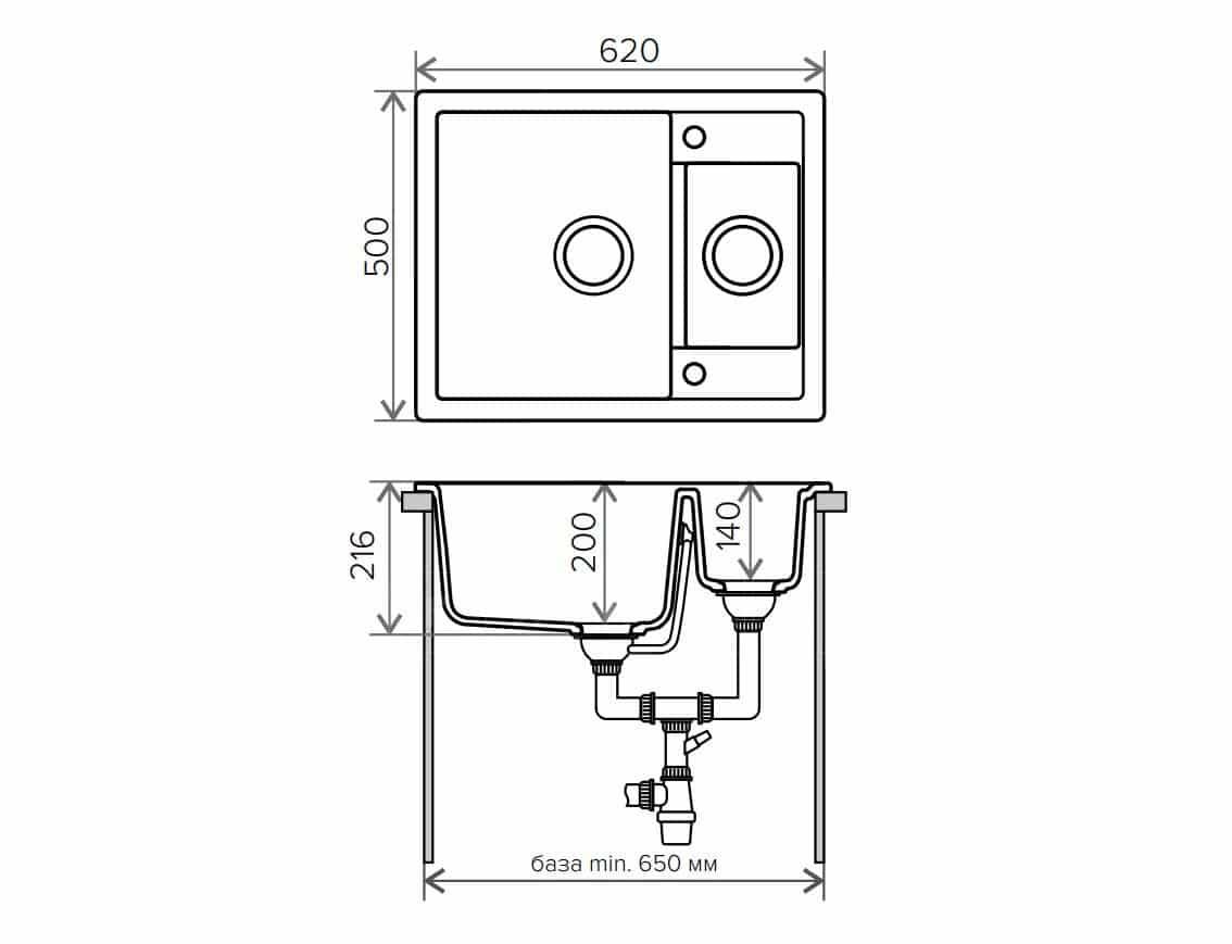 Кухонная мойка TOLERO R-109 кварцевая 62х50 см две чаши фото 9   интернет-магазин Складно