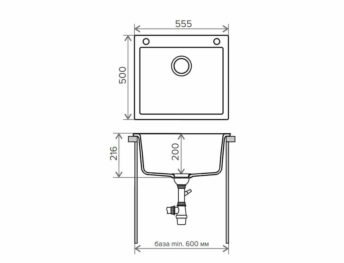 Кухонная мойка TOLERO R-111 кварцевая фото 9 | интернет-магазин Складно