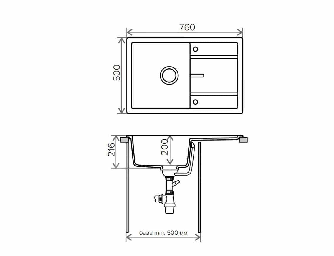 Кухонная мойка TOLERO R-112 кварцевая 76х51 см фото 9 | интернет-магазин Складно