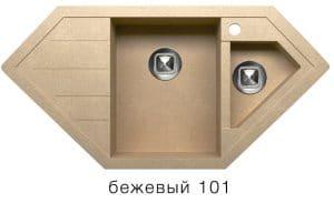 Кухонная мойка TOLERO R-114 кварцевая 100х50 см угловая  10400  рублей, фото 1   интернет-магазин Складно