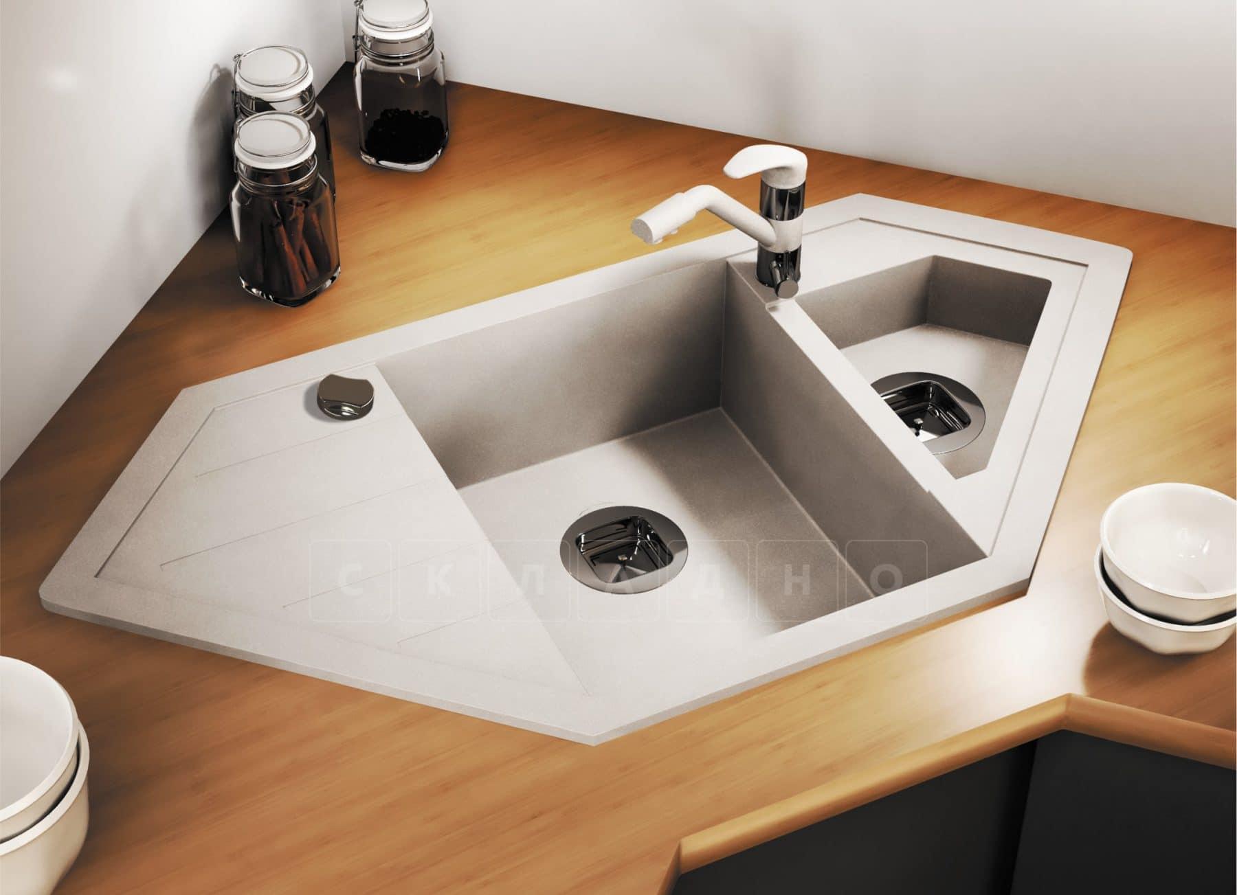 Кухонная мойка TOLERO R-114 кварцевая 100х50 см угловая фото 12   интернет-магазин Складно