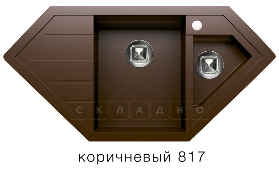 Кухонная мойка TOLERO R-114 кварцевая 100х50 см угловая фото 5   интернет-магазин Складно