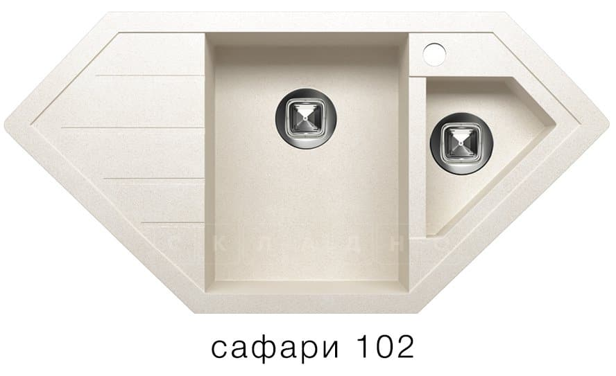 Кухонная мойка TOLERO R-114 кварцевая 100х50 см угловая фото 3   интернет-магазин Складно