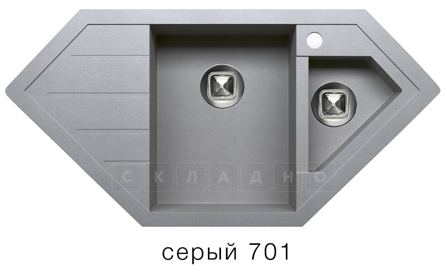 Кухонная мойка TOLERO R-114 кварцевая 100х50 см угловая фото 4   интернет-магазин Складно