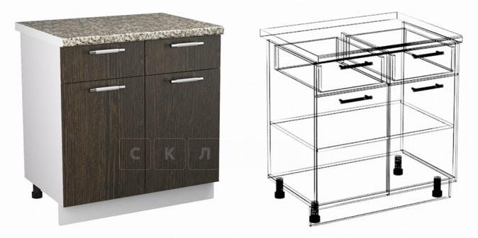 Кухонный шкаф напольный Шарлотта ШН2Я2С80 с 2 ящиками и 2 створками фото 1 | интернет-магазин Складно