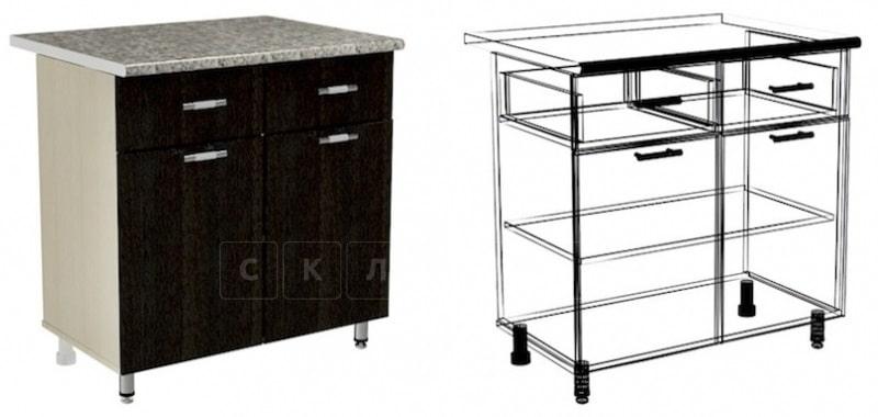 Кухонный шкаф напольный Лофт ШН2Я2С80 с 2 ящиками и 2 створками фото 1 | интернет-магазин Складно