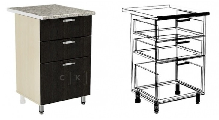 Кухонный шкаф напольный Шарлотта ШН3Я50 с 3 ящиками фото 1 | интернет-магазин Складно