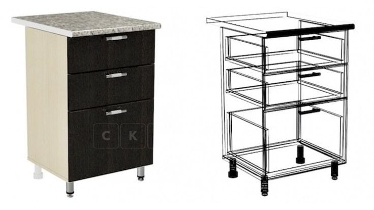 Кухонный шкаф напольный Лофт ШН3Я50 с 3 ящиками фото 1 | интернет-магазин Складно