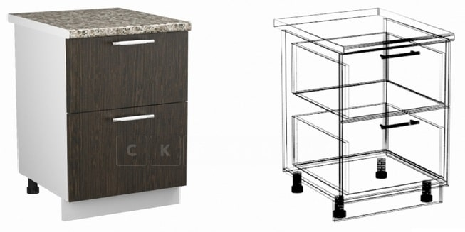Кухонный шкаф напольный Шарлотта ШН2Я50 с 2 ящиками фото 1 | интернет-магазин Складно