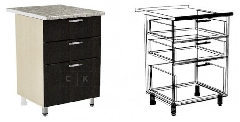 Кухонный шкаф напольный Шарлотта ШН3Я60 с 3 ящиками фото 1 | интернет-магазин Складно