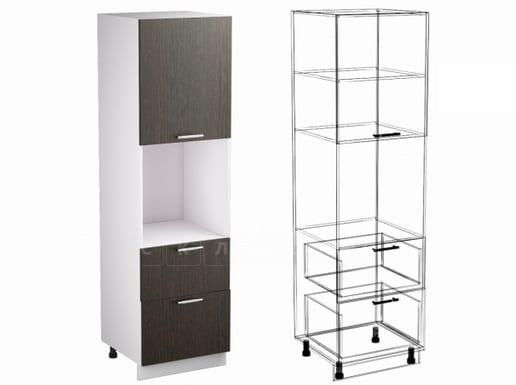 Кухонный напольный шкаф-пенал Шарлотта ШП2Я60 с 2 ящиками фото 1 | интернет-магазин Складно