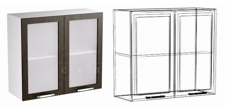 Кухонный навесной шкаф со стеклом Шарлотта ШВС80 фото 1 | интернет-магазин Складно
