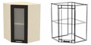 Кухонный навесной шкаф угловой со стеклом Шарлотта ШВУС50 фото | интернет-магазин Складно