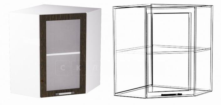 Кухонный навесной шкаф угловой со стеклом Шарлотта ШВУС60 фото 1 | интернет-магазин Складно