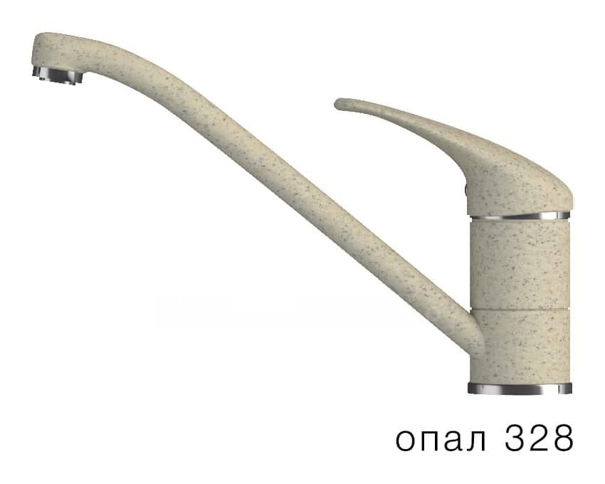 Смеситель кухонный низкий ЭКО в цвет мойки Polygran фото 3 | интернет-магазин Складно