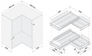 Сушилка для посуды угловая 60х60см хром 3950 рублей, фото 2 | интернет-магазин Складно