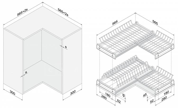Сушилка для посуды угловая 60х60см хром фото 2 | интернет-магазин Складно