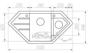 Кухонная мойка TOLERO R-114 кварцевая 100х50 см угловая 10400 рублей, фото 10   интернет-магазин Складно