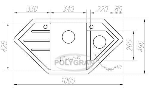 Кухонная мойка TOLERO R-114 кварцевая 100х50 см угловая фото 10   интернет-магазин Складно
