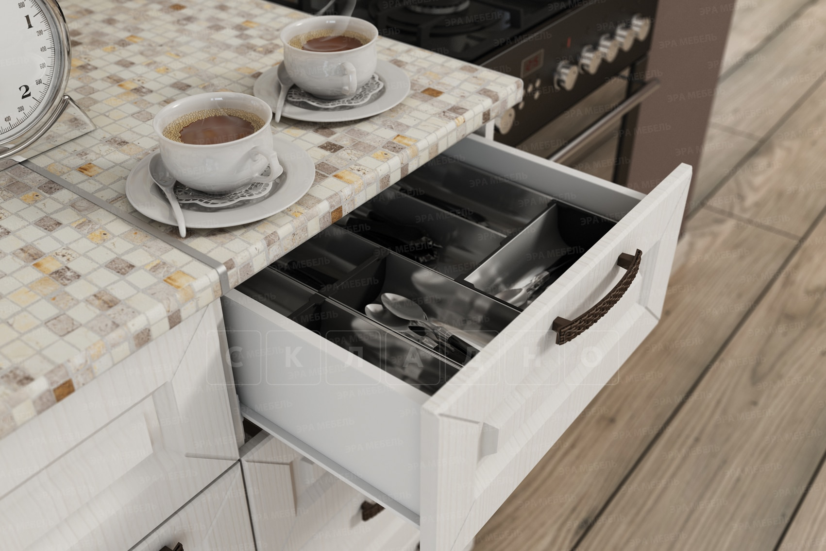 Кухонный гарнитур с пеналом Агава 3,0м вариант 2 фото 5 | интернет-магазин Складно