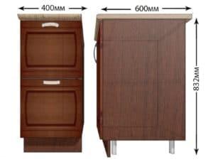 Кухонный шкаф напольный Кариба ШН2Я40 с 2 ящиками фото | интернет-магазин Складно