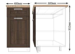Кухонный шкаф напольный Лофт ШН1Я40 с 1 ящиком фото   интернет-магазин Складно