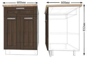 Кухонный шкаф напольный Лофт ШН1Я60 с 1 ящиком фото   интернет-магазин Складно