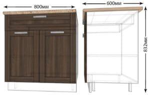 Кухонный шкаф напольный Лофт ШН1Я80 с 1 ящиком фото   интернет-магазин Складно