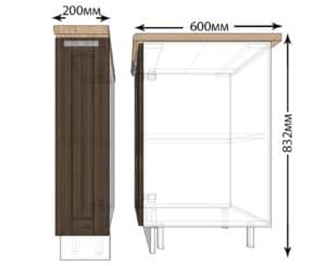 Кухонный шкаф напольный Лофт ШН20 бутылочница фото | интернет-магазин Складно