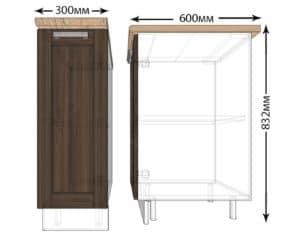 Кухонный шкаф напольный Лофт ШН30 фото | интернет-магазин Складно