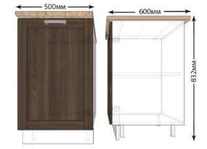 Кухонный шкаф напольный Лофт ШН50 фото | интернет-магазин Складно