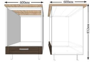 Кухонный шкаф под встраиваемую духовку Лофт ШНД60 фото   интернет-магазин Складно